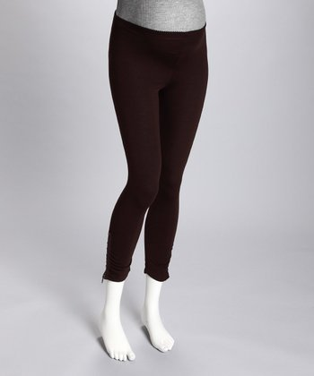 Maternité Brown Side-Zip Maternity Leggings