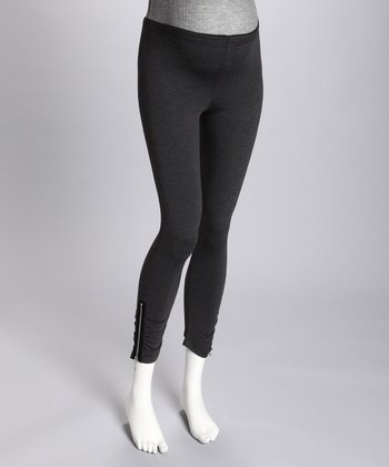 Maternité Heather Gray Side-Zip Maternity Leggings
