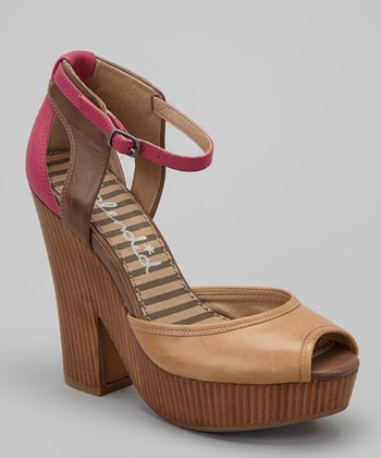 Camel Leather Davenport Platform Open-Toe Pump