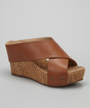 Caramel Leather Gravity Wedge Slide