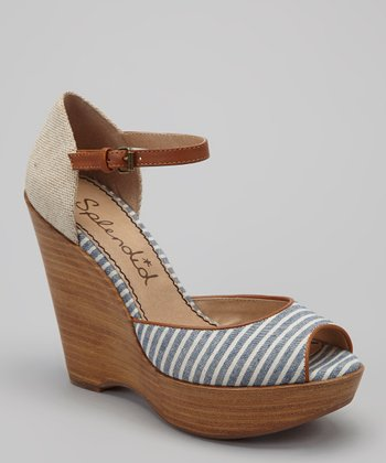 Navy Stripe Langley Open-Toe Wedge