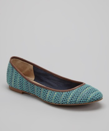 Teal Basketweave Nantucket Ballet Flat