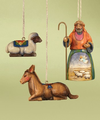Shepherd & Animal Ornament Set