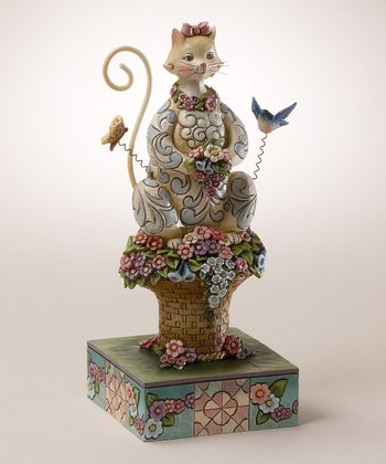 Spring Cat & Flower Figurine