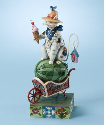 Summer Cat & Wheelbarrow Figurine