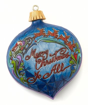 Blue & Red 'Merry Christmas' Ornament