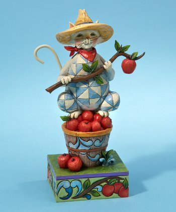 Apple-Picking Cat Figurine