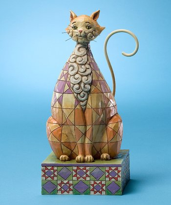Brown Quilt Cat Figurine