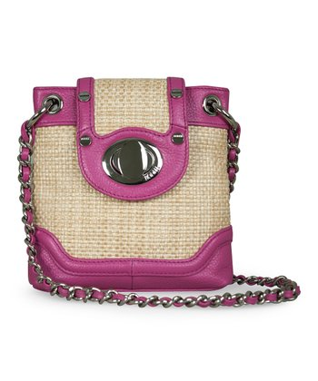 Natural Straw & Fuchsia Crossbody Bag