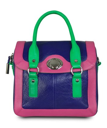 Electric Purple Color Block Satchel