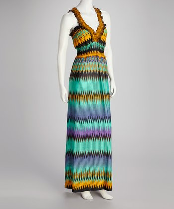 Blue & Orange Zigzag Maxi Dress