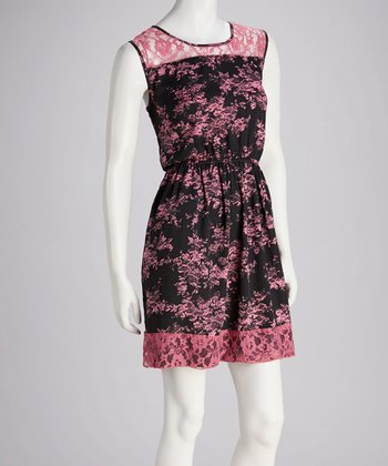 Black & Pink Floral Lace Sleeveless Dress