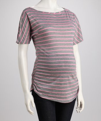 Heather Gray & Pink Stripe Maternity Cutout Top - Women