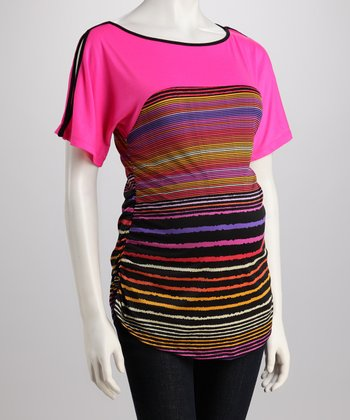 Neon Pink Stripe Maternity Cutout Top - Women