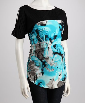 Turquoise & Black Floral Maternity Cutout Top