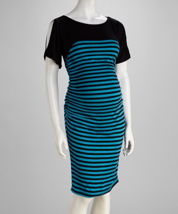 Black & Turquoise Stripe Ruched Maternity Dress