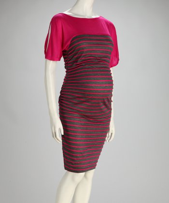 Charcoal & Fuchsia Stripe Maternity Cutout Dress