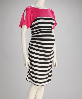 Pink & Charcoal Stripe Maternity Cutout Dress