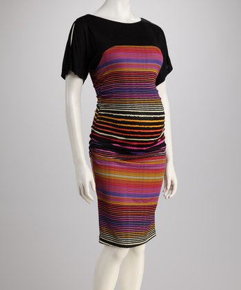 Black Stripe Maternity Dress