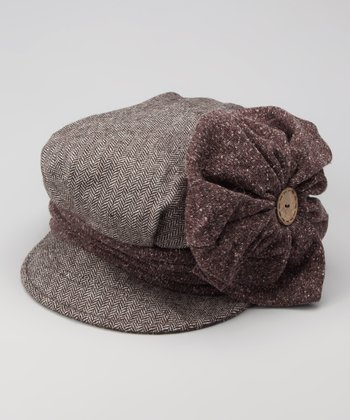 Brown Flower Newsboy Cap
