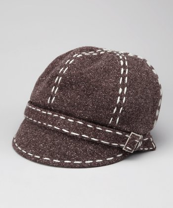 Brown Contrast Stitch Newsboy Cap