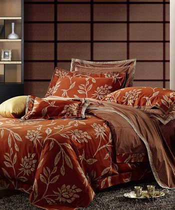 Burgundy Arabella Duvet Cover Set