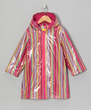 Pink Stripe Fleece-Lined Raincoat - Infant, Toddler & Kids