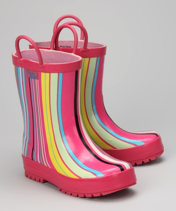 Pink Stripe Rain Boot