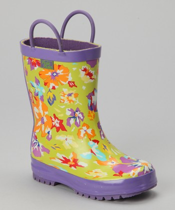 Lime Flower Rain Boot