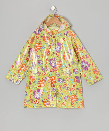 Lime Flower Raincoat - Infant, Toddler & Girls