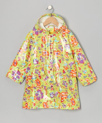 Lime Flower Fleece-Lined Raincoat - Infant, Toddler & Girls