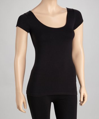 Black Cap-Sleeve Tee