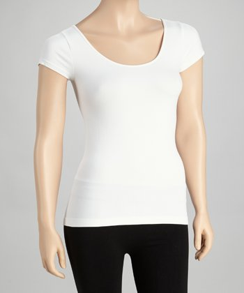 White Cap-Sleeve Tee