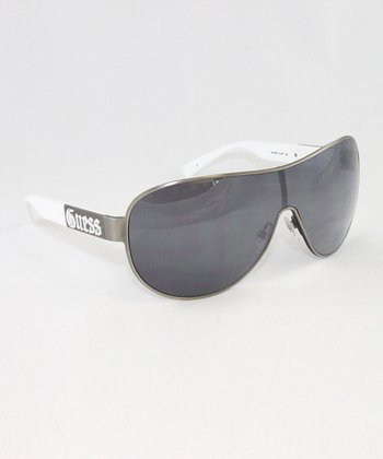 Satin Silver Shield Sunglasses - Men