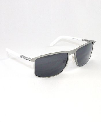 Satin Silver Square Sunglasses - Unisex