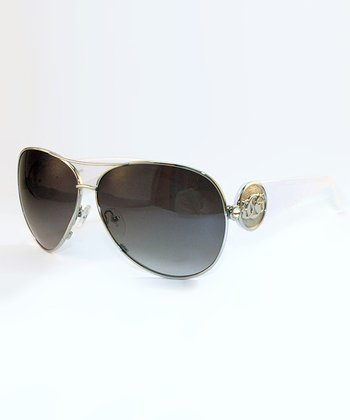 Silver & White Logo Pilot Sunglasses - Men