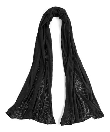 Lucy Black Blooming Lotus Burnout Scarf