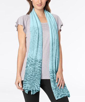Porcelain Blue Spacedye Blooming Lotus Burnout Scarf