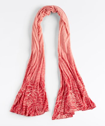 Coral Haze Spacedye Blooming Lotus Burnout Scarf