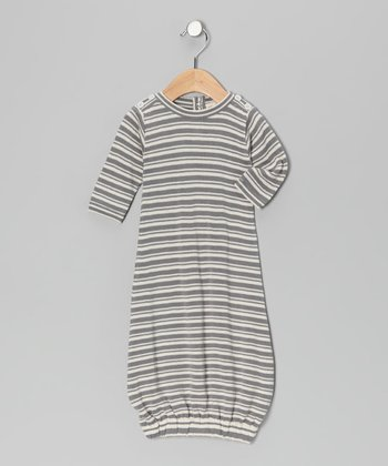 Gray Stripe Organic Gown - Infant