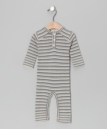 Gray Stripe Bum Organic Playsuit - Infant