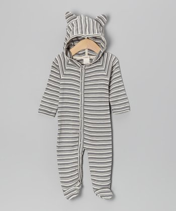 Gray Stripe Bear Organic Footie - Infant