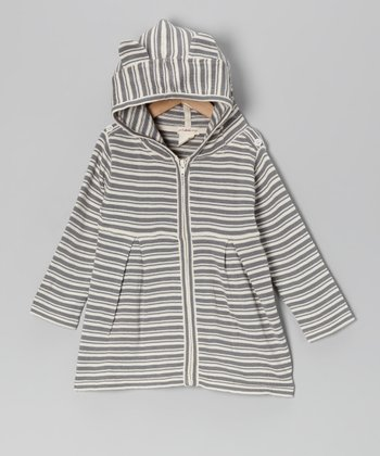 Gray Stripe Bear Organic Zip-Up Hoodie - Infant, Toddler & Girls