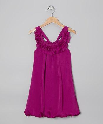 Grape Chiffon Bubble Yoke Dress - Girls