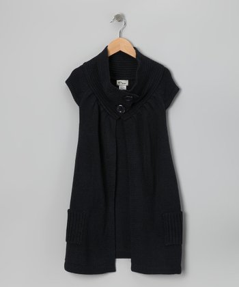 Navy Cap-Sleeve Cardigan - Girls