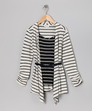 Cream & Navy Layered Tunic - Girls