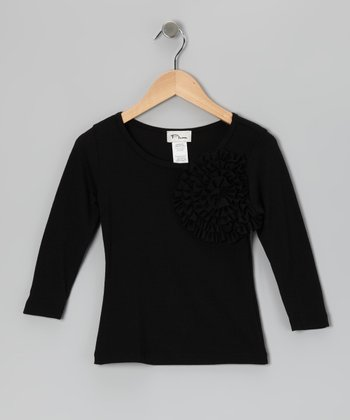 Black Flower Tee - Girls