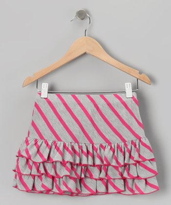 Gray Stripe Ruffle Skirt - Girls