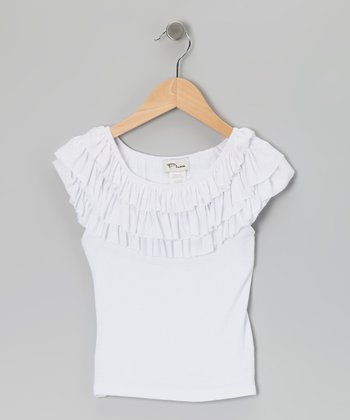 White Ruffle Tee - Girls