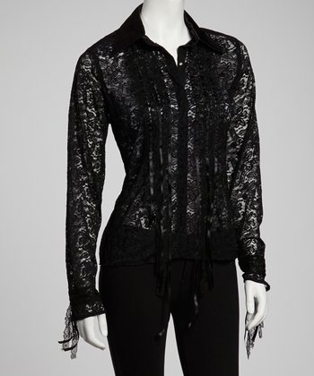 Premise Paris Black Lace Collared Shirt